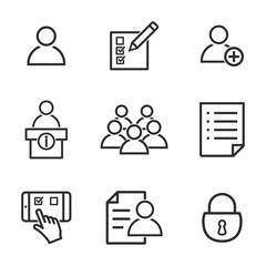 Registration icon set.