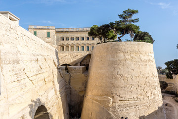 Park atop city walls and moat, Valletta, Malta