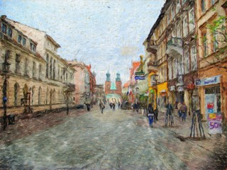 Old city, landscape, oil paintings, art