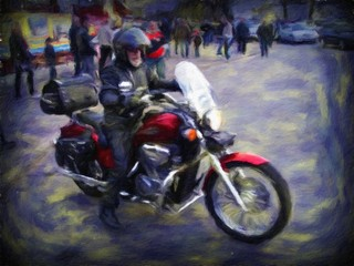 Biker, motorcycle, motorcyclist, paintings