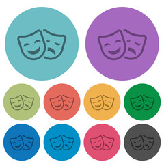 Comedy and tragedy theatrical masks color darker flat icons