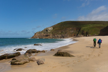 Fototapete - Portheras Cove Cornwall secluded beach on the Cornish coast South West of St Ives with blue sea and sky