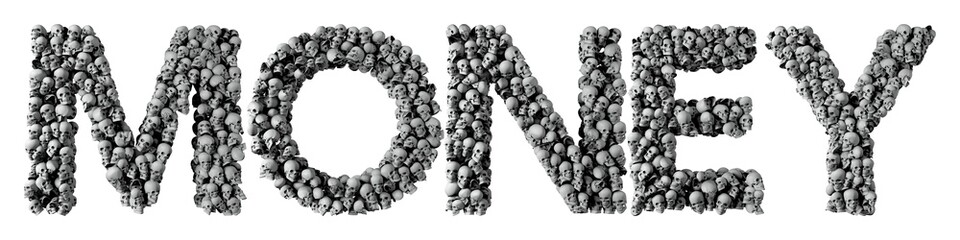 Money word made from a skull font. 3D Rendering