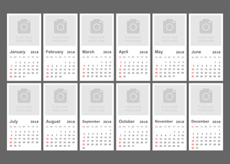 Calendar 2018 year in simple style. Calendar planner design template with place for photo. Week starts on sunday. Business vector illustration.