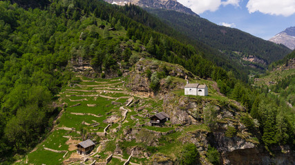 Aerial view of the little church near Rossa in Tessin