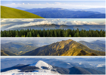 Four seasons mountains collage, several images of beautiful mountain landscapes at different time of the year, autumn, winter, spring and summer weather, planet earth life cycle concept
