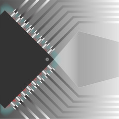 Microchip pattern background and right clear glass banner. Vector EPS10 illustration design.