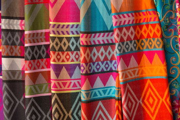 Hand-made silk scarves in Karen village, long neck tribes, Chiang Rai Province, Thailand.