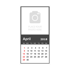 April 2018 calendar. Calendar planner design template with place for photo. Week starts on sunday. Business vector illustration.