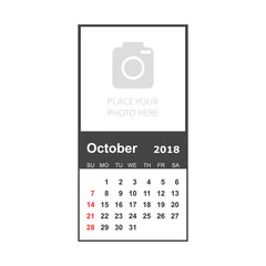 October 2018 calendar. Calendar planner design template with place for photo. Week starts on sunday. Business vector illustration.