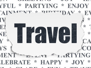 Entertainment, concept: Travel on Torn Paper background