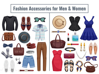 Men And Women Accessories Icon Set