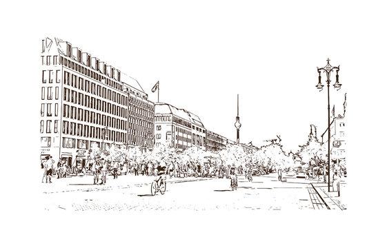 Hand drawn sketch of Brandenburg Gate Berlin, Germany in vector illustration.