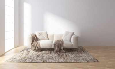Sofa on carpet in bright room