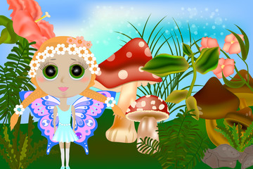 small fairy and mushrooms. Fantasy landscape