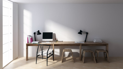 Empty workstation in minimalist bright room