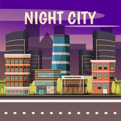 Canvas Prints Violet Night City Background