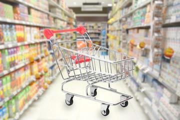 Empty Shopping cart on supermarket background.