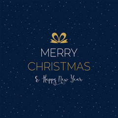 Christmas design with a blue background with snowflakes and greetings