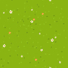 Cartoon grass with small flowers daisy and marigold. Grass field, background, texture