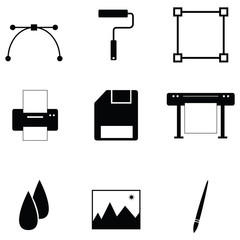 printing icon set