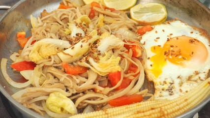 Enoki mushrooms fried with has fried eggs menu idea food full frame