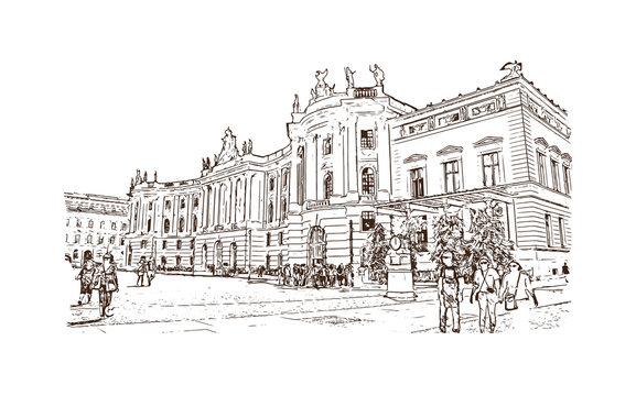 Hand drawn sketch of Berlin, Germany Museum Island in vector illustration.