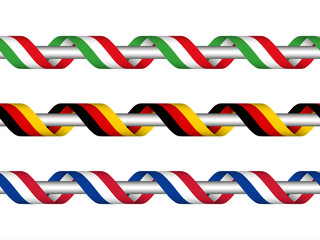 Colored ribbon with the Italian , German and French tricolor, symbol of the Italian, German and Frech flag isolated on white background, sign Made in Italy, Made in Germany, Made in France