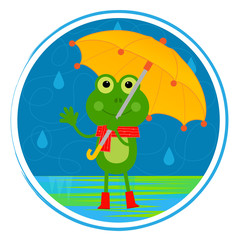 Frog With Umbrella - Clip art of a smiling frog with umbrella standing in the rain. Eps10