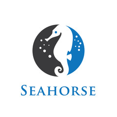 seahorse logo in circle blue grey