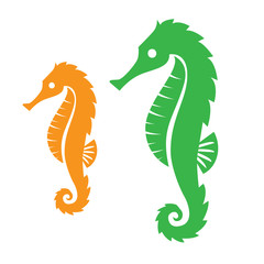 2 seahorses in green and yellow