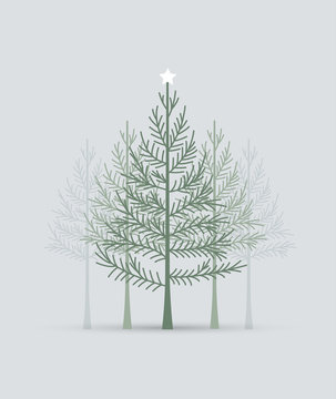 Vector illustration of a Christmas tree. Happy Christmas greeting card
