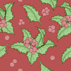 Holly leaves and berries by hand drawing.Holly leaf vector pattern on vintage background.Vector leaves art highly detailed in line art style.christmas seamless for wallpaper.