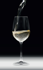 Vector realistic illustration of shiny transparent glass with pouring white vine on white table with black background