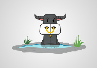 buffalo cute cartoon design, vector illustration.