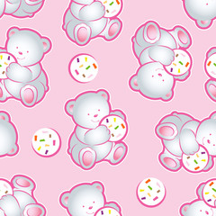 Teddy-bears seamless pattern. Children, pink cartoon pattern. Seamless pattern with teddy-bears.