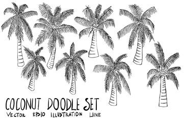 Set of coconut tree illustration Hand drawn doodle Sketch line vector eps10