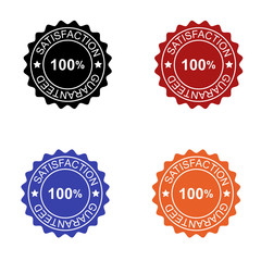 100% Satisfaction guaranteed seal in colors black red blue and orange isolated for applications and web pages