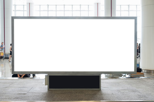 Digital blank billboard with copy space for advertising, public information in airport hall