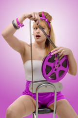 sexy pin-up girl with a film reel
