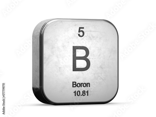 Boron Element From The Periodic Table Metallic Icon 3d Rendered On