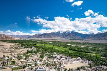 Aerial view from Thiksey monastery, located on top of a hill in Thiksey village east of Leh in Ladakh, India.
