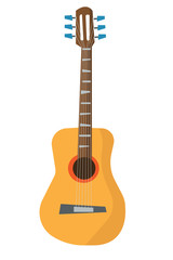 Classical acoustic guitar vector flat design illustration isolated on white background.