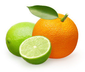 Whole fresh orange fruit with green leaf, lime and half
