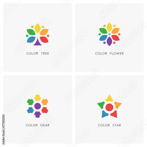 Color Logo Set Colored Tree And Flower Gear Wheel And Star Symbol