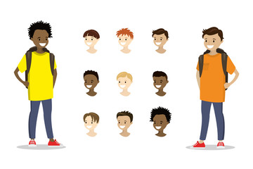 Teenage boys and template multicultural heads