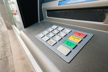 Buttons and keypad of a Nationwide Cash Machine at a branch