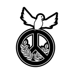 peace dove with  peace symbol vector  illustration