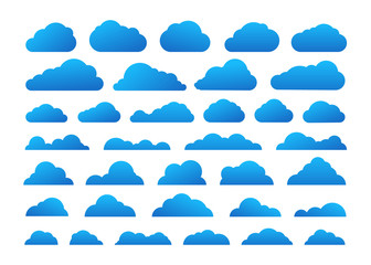 Different abstract cartoon clous vector collection. Cloud technology symbols