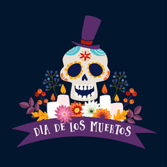Dia de Los Muertos greeting card, invitation. Mexican Day of the Dead. Ornamental sugar skull with hat, ribbon banner, candles and flowers Hand drawn illustration, vector poster with dark background.